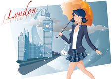 Shopping girl in London. Girl in London with umbrella Stock Images
