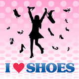 Shopping girl love shoes. Vector background with happy shopping girl buying shoes she loves Stock Photography