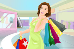 Shopping girl in a mall. A vector illustration of beautiful happy woman with shopping bags in a mall Stock Photos