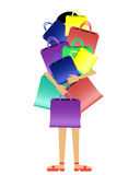 After shopping. Girl with a mountain of packages in hands Stock Images