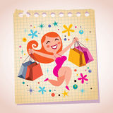 Shopping girl note paper cartoon illustration Royalty Free Stock Photo