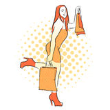 Shopping Girl with Orange Bags. Vintage Artwork. Stock Images