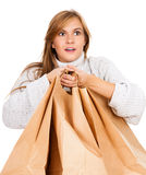 Shopping girl with paper bags Royalty Free Stock Photo
