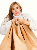 Shopping girl with paper bags Stock Photo
