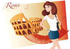Shopping girl in  Rome. Girl in  Rome with coliseum in background Royalty Free Stock Image