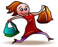 Shopping Girl. A Shopping Girl run clip art cartoon image Stock Photo