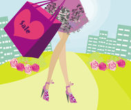 Shopping girl sale card Royalty Free Stock Photography