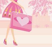 Shopping girl - sale card Royalty Free Stock Photos