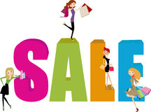 Shopping girl and sale word Stock Photography