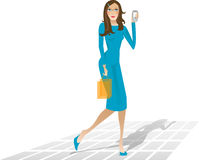 Shopping girl saw a missed call Royalty Free Stock Images