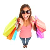 Shopping girl screaming of joy Stock Images