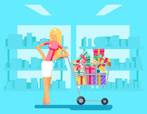 Shopping Girl shop cart purchase gift flat design character vector illustration Stock Photography