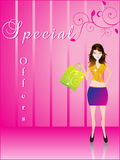 Shopping girl with shoping bag. Shopping girl with shopping bag vector illustration Stock Image