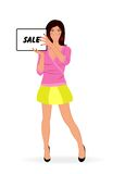 Shopping girl showing message board ''sale'' Stock Images