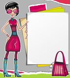 Shopping girl showing paper Royalty Free Stock Photo
