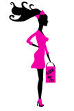 Shopping girl silhouette Royalty Free Stock Image