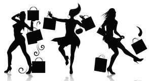 Shopping girl silhouettes. Vector silhouettes of shopping girls Royalty Free Stock Photos