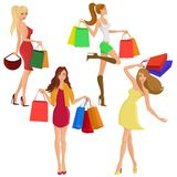 Shopping girl silhouettes Royalty Free Stock Image