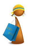 Shopping girl. Simple iconic illustration of shopping african girl Royalty Free Stock Photography