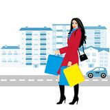 Shopping girl - Stock Illustration. fashionable girl against the backdrop of the city with purchases for your design Royalty Free Stock Images