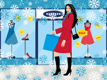 Shopping girl - Stock Illustration. fashionable girl with purchases for your design Royalty Free Stock Images