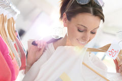 Shopping girl during summer sales Stock Photography