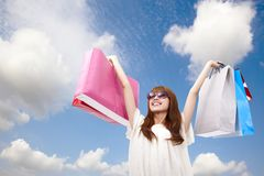 Shopping girl and summer time. Fashion girl with shopping bag Royalty Free Stock Photo