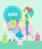 Shopping girl with trolley shopping bag with lable Stock Image