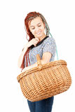 Shopping girl wicker basket Stock Photo