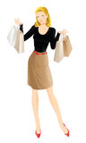 Shopping girl. Woman hold shopping bag in her hand Royalty Free Stock Photography
