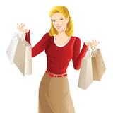 Shopping girl. Woman hold shopping bag in her hand. Pretty blond woman in red blouse buy presents Stock Images