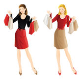 Shopping girl. Woman hold shopping bag in her hand. Pretty blond woman in red blouse buy presents. Girl in black blouse and red skirt buy presents Stock Photos