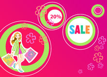 Shopping girl young vector illustration Stock Images