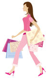 Shopping girl1. Brunnete girl holding a lot of shopping bags Vector Illustration