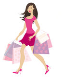 Shopping girl2. Brunnete in pink with shopping bags Royalty Free Illustration