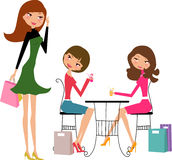 Shopping girls stock images