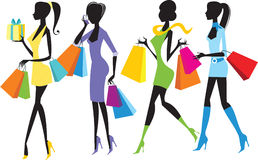 Shopping girls. Four colorful Shopping girls silhouettes Stock Images