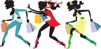Shopping girls. Three colorful shopping girls silhouettes Stock Image