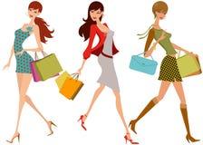 Shopping girls. Illustration drawing of shopping girls Stock Image