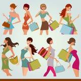 Shopping girls. Illustration drawing of shopping girls Royalty Free Stock Photo