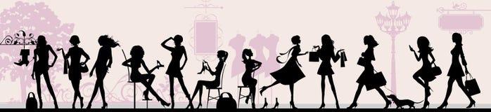 Shopping girls. royalty free illustration