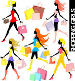 Shopping girls. Set of shopping girls silhouettes and paper bags in  format very easy to edit, individual objects Stock Images