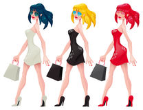 Shopping  Girls. Cartoon and vector isolated characters Royalty Free Stock Photo