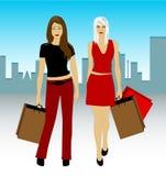 Shopping Girls. Ai 10 + eps 8 Royalty Free Stock Image