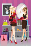 Shopping girls. A vector illustration of two girls shopping Stock Images