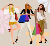 Shopping girls vector illustration