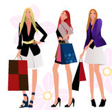 Shopping girls royalty free illustration