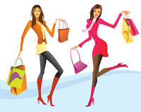 Shopping girls in action. Illustration Royalty Free Stock Photos