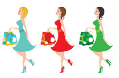 Shopping girls with different color clothing Royalty Free Stock Image