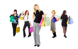 Shopping girls with especially happy girl Stock Image